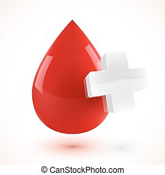 Red 3D style vector blood drop with white cross