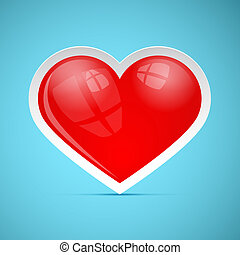 Red 3d Vector Retro Heart on Blue Background