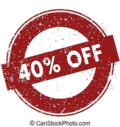 Red 40 PERCENT OFF rubber stamp illustration on white background