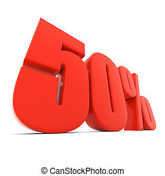 Red 50% discount sign isolated on white background.