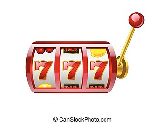 Red 777 slot - modern vector isolated illustration