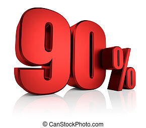 Red 90 Percent - 90 percent off on white background. 3d...