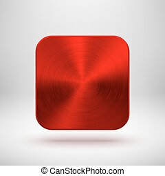 Red abstract technology app icon, blank button template with metal texture (chrome, silver, steel), realistic shadow and light background for web sites, user interfaces, UI and applications, apps.