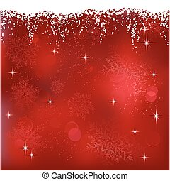 Red abstract background with stars and snowflakes. Great for...