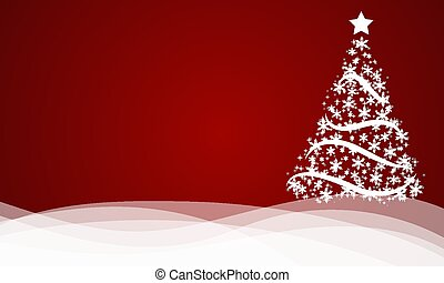 red abstract background with white christmas tree with snowflakes