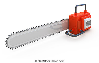 Red abstract chainsaw