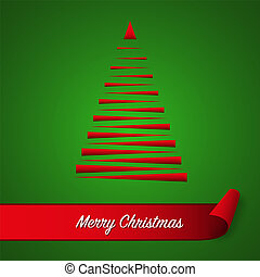 Red abstract christmas tree on green background with red curled paper ribbon and Merry Christmas inscription, christmas card