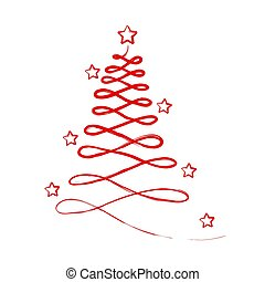 Red Abstract Christmas Tree with Stars for Greeting Card, Stock Vector Illustration