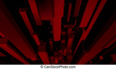 Red abstract cubes background looping