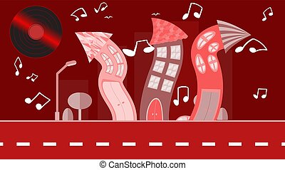 Red abstract dancing city in a flat style with a vinyl plate instead of the sun with curved houses with notes with trees with a road and bushes, clouds on a red background. Vector illustration