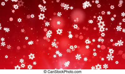 Red Abstract Falling snow flakes Snowflakes Particles 4K Loop Animation