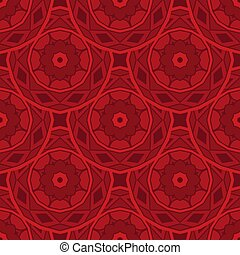 Red abstract geometric circles flower textured