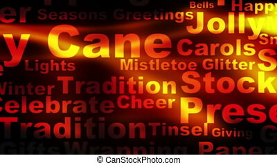Red abstract holiday words looping background