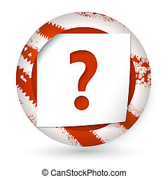 red abstract icon with paper and question mark