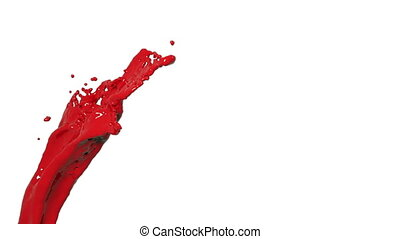 red abstract paint stream on white background.