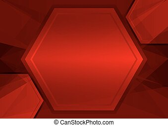 red abstract poly and hexagon background with copy space