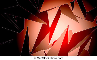 Red abstract polygonal bitmap illustration with dark gradient
