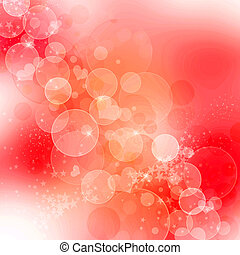 abstract romantic background with hearts and sparkle - Red...