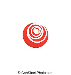 Red abstract rose, vector logo template on white background. Stylish flower illustration, circular shape, arc design element.