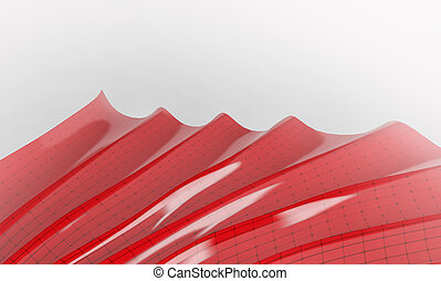 Red abstract shape with connecting dots and lines on white background. 3d render
