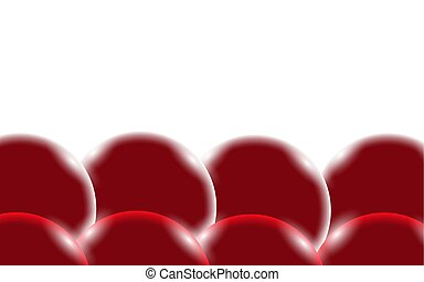 Red abstract shiny beautiful and convex smooth volumetric simple balls, bubbles, circles with glare of light located from the bottom on a white background and space for a simple text. Vector illustration.