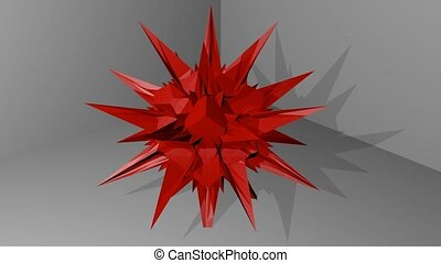 red abstract spatial object with spines hovering in space,...