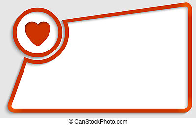 red abstract text frame and heart