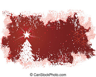Red abstract vector background with snow, a Christmas tree with star and grunge elements. Great for seasonal / winter themes. Space for your text.