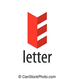 Red abstract vector logo letter E