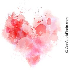 Red abstract watercolor heart