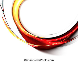 Red abstract waves on white background