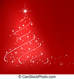 Red abstract winter background with stars Christmas tree
