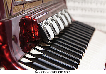 Red accordion, close up