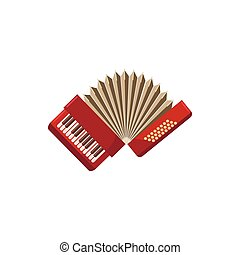 Red accordion icon, cartoon style