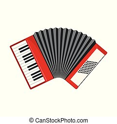 Red accordion icon in flat style isolated on white.