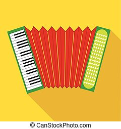 Red accordion icon in flat style