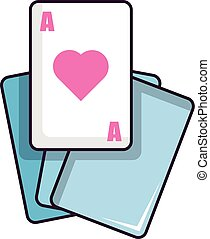 Red ace magic cards icon, cartoon style