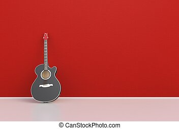 Red acoustic guitar in a empty room, 3D rendering