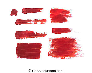 Red Acrylic Paint Stroke Isolated on White Background