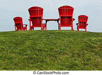 Red Adirondack Muskoka Chairs