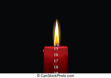 Red advent candle - december 15th - Realistic vector...