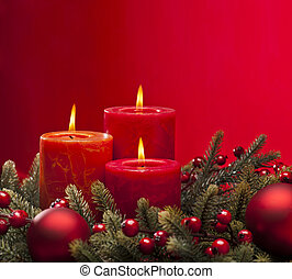 Red advent wreath with candles - Red advent flower ...