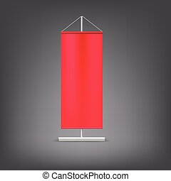 Red advertising stand. Blank vector illustration.