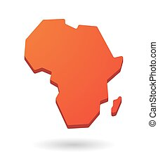 red Africa continent map icon