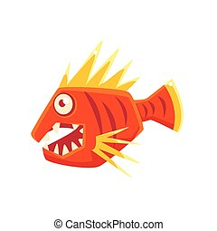 Red Agressive Fantastic Aquarium Tropical Fish With Spiky Fins Cartoon Character