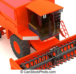 red agricultural combine-harvester
