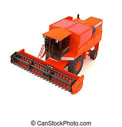 red agricultural combine-harvester