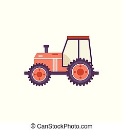 Red agricultural tractor isolated on white background.
