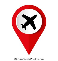 Red airplane icon on white background. Vector illustration.