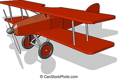 Red airplane toy, illustration, vector on white background.